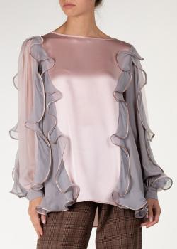 Розовая блуза Alberta Ferretti с рюшами, фото
