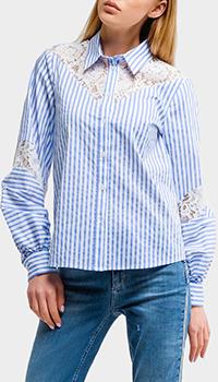 Голубая рубашка Liu Jo с кружевными вставками, фото