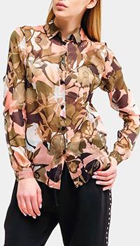 Шелковая рубашка Liu Jo с растительным принтом, фото