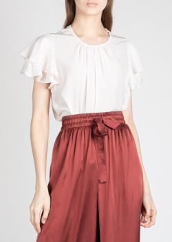 Шелковая блузка Zimmermann с оборками на рукавах, фото
