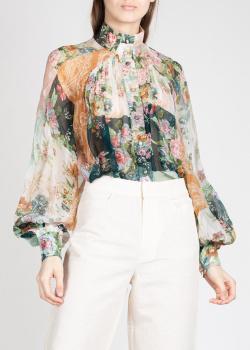 Шелковая блузка Zimmermann с воротником-стойкой, фото