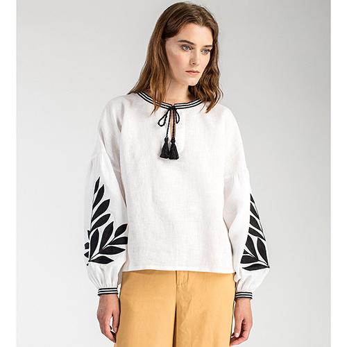 9f0a43fbba1 ☆ Белая блуза Etnodim Leaf с черной вышивкой купить в Киеве ...