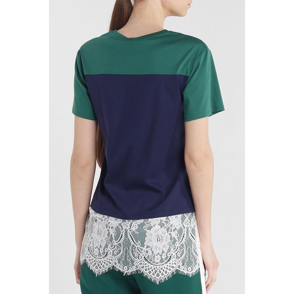 Зеленая блуза Twin-Set с кружевными вставками