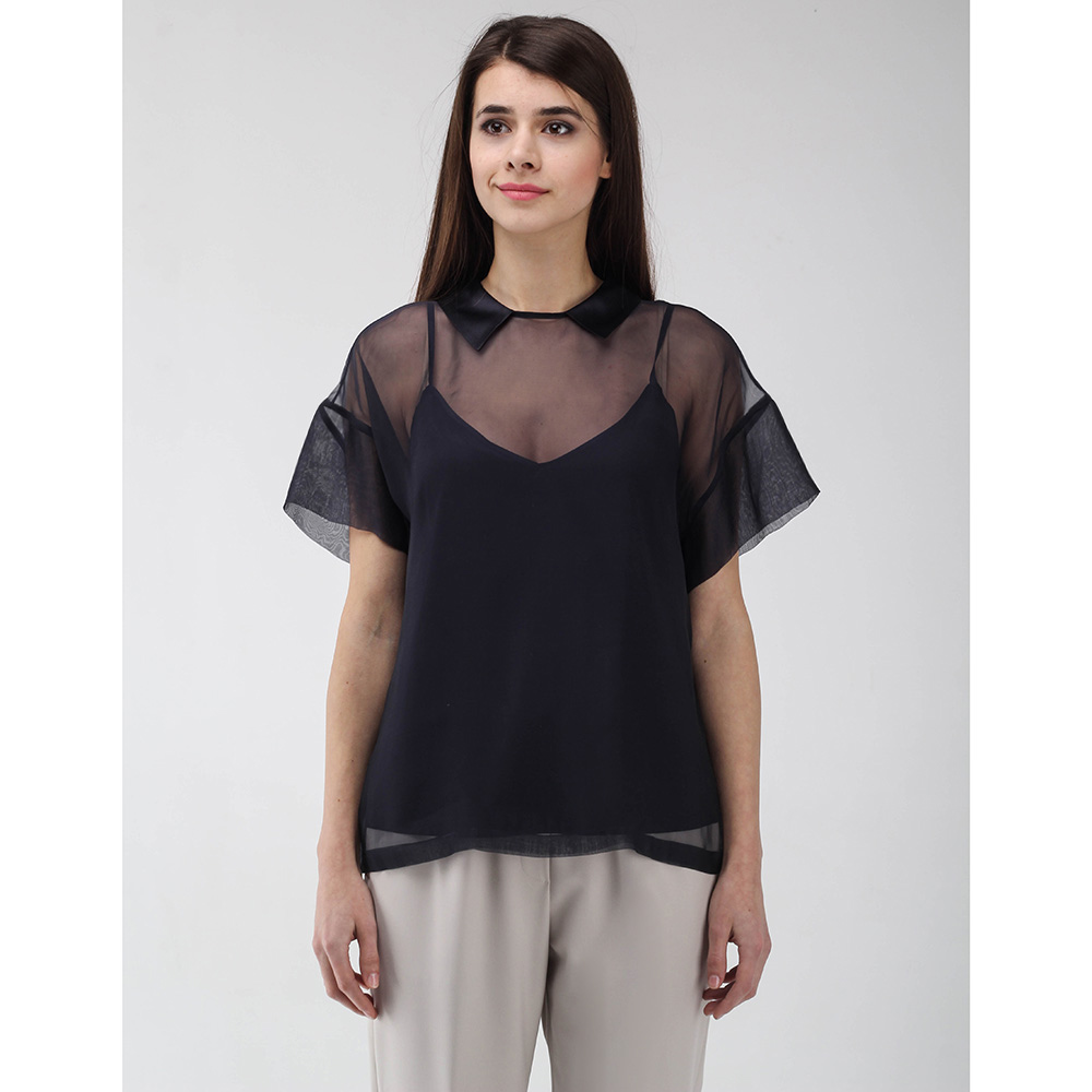 Прозрачная блуза Peserico с шелковым топом синего цвета