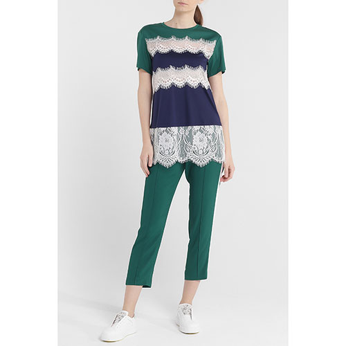 Зеленая блуза Twin-Set с кружевными вставками, фото