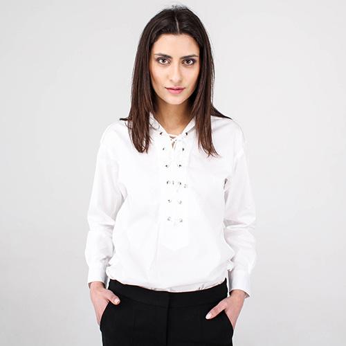 Белая хлопковая рубашка Polo Ralph Lauren со шнуровкой, фото