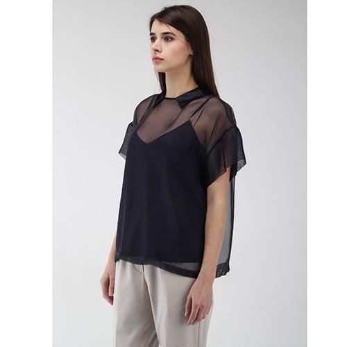 Прозрачная блуза Peserico с шелковым топом синего цвета, фото