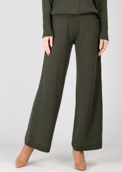 Трикотажные широкие брюки GD Cashmere темно-зеленого цвета, фото