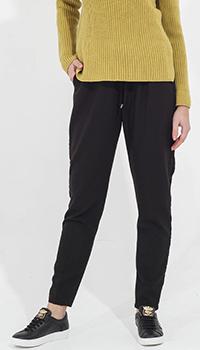Черные брюки на резинке Tensione in с бархатными лампасами, фото