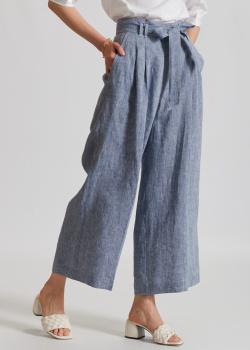Льняные брюки Airfield голубого цвета, фото
