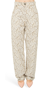 Бежевые брюки Etro с принтом, фото
