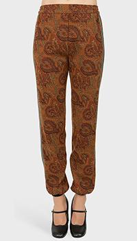 Коричневые брюки Etro с узорами, фото