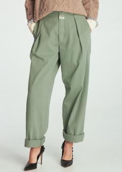 Вельветовые брюки-палаццо Etro салатового цвета, фото