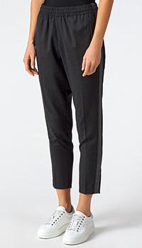Черные зауженные брюки Sfizio с лампасами, фото