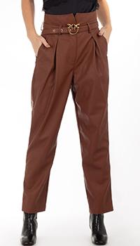 Коричневые брюки из экокожи Pinko с защипами, фото