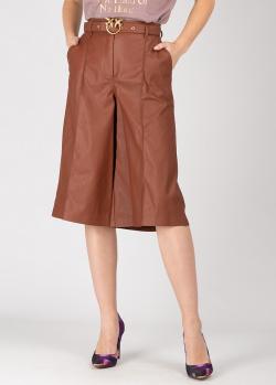 Коричневые шорты-бермуды Pinko из искусственной кожи, фото