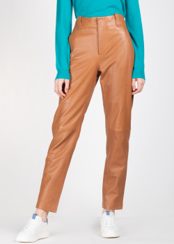 Кожаные брюки Alberta Ferretti коричневого цвета, фото