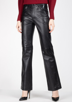 Кожаные брюки Alberta Ferretti черного цвета, фото