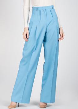 Голубые брюки-палаццо Rochas с защипами, фото