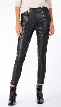 Зауженные брюки из экокожи Twin-Set черного цвета, фото