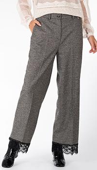 Серые брюки Twin-Set с кружевом, фото