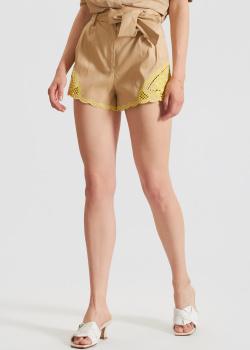 Бежевые шорты Twin-Set с кружевной вышивкой, фото