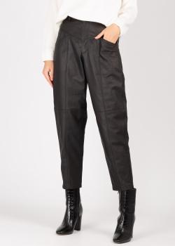 Черные кожаные брюки Forte Dei Marmi Couture с высокой талией, фото
