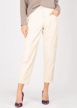 Кожаные брюки Forte Dei Marmi Couture кремового цвета, фото