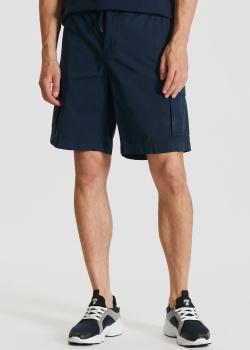 Синие шорты Emporio Armani с накладными карманами, фото
