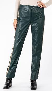 Прямые брюки из экокожи Patrizia Pepe с золотистыми лампасами, фото