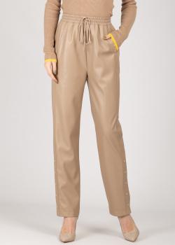 Бежевые штаны Patrizia Pepe из искусственной кожи, фото