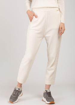 Трикотажные белые брюки Patrizia Pepe с кружевом и стразами, фото