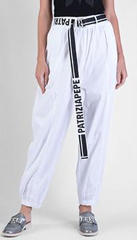 Белые брюки Patrizia Pepe с логотипом на поясе, фото