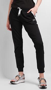 Черные брюки Ea7 Emporio Armani с резинками на косточках, фото