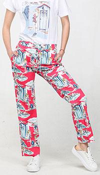 Красные брюки Blugirl Blumarine с морским принтом, фото