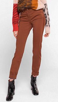 Коричневые брюки Luisa Cerano с лампасами, фото
