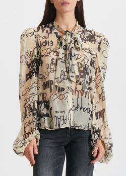 Бежевая блузка Miss Sixty с пышными рукавами, фото