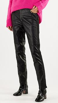 Черные брюки Emporio Armani из натуральной кожи, фото
