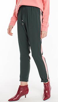 Темно-зеленые брюки Laurel с розовыми лампасами, фото