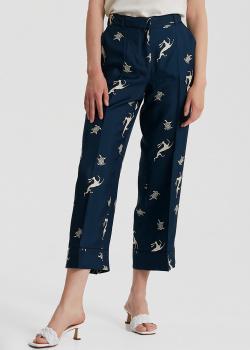 Шелковые темно-синие брюки S Max Mara с принтом в виде животных, фото