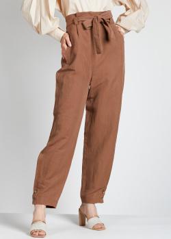 Коричневые брюки Alberta Ferretti из шелка и льна, фото