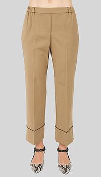 Коричневые брюки N21 с лампасами-стразами, фото