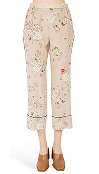 Шелковые брюки N21 с цветочным принтом, фото