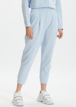 Голубые брюки Max Mara Leisure Bric с манжетами, фото