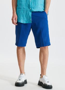 Хлопково-льняные шорты Paul&Shark синего цвета, фото