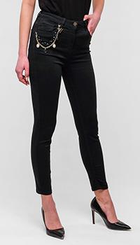 Черные брюки Elisabetta Franchi с металлическим декором, фото