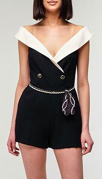 Черный комбинезон Elisabetta Franchi с открытыми плечами, фото