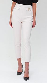 Белые брюки Elisabetta Franchi с высокой посадкой, фото