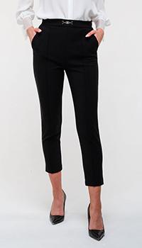 Укороченные черные брюки Elisabetta Franchi со значком, фото
