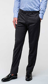 Клетчатые брюки Emporio Armani темно-серого цвета, фото